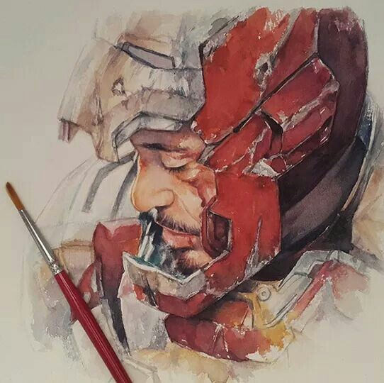 Watercolor Iron Man