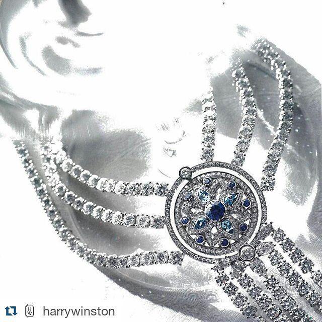 @harrywinston ・・・ The wonder of a reversible #diamond, #sapphire and aquamarine pendant. Secrets by #HarryWinston. Featured in Luxure Magazine. Autumn Issue. #HWSecrets