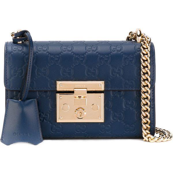 930864c72d8b Gucci Signature Padlock shoulder bag ($1,850) ❤ liked on Polyvore featuring  bags, handbags, shoulder bags, blue, evening purses, blue leather shoulder  bag, ...