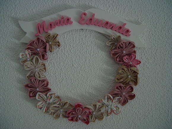 (MA 0122) Guirlanda flores em tecido