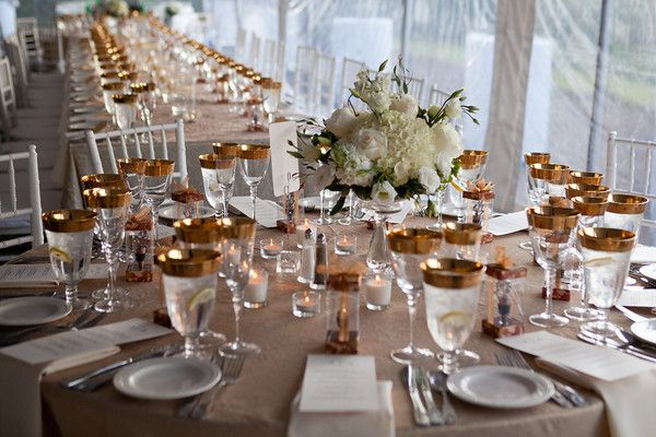 White with Gold accents by the Casual Gourmet. http://www.thecasualgourmet.com