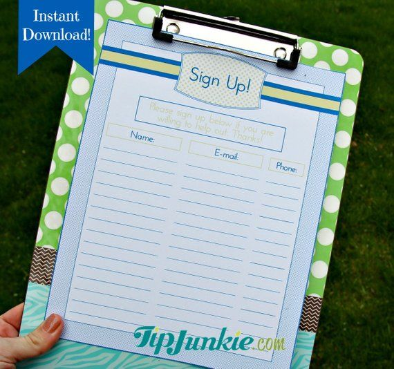 6 Sign Up Sheets - Potluck - Snack - Church - Sports - School
