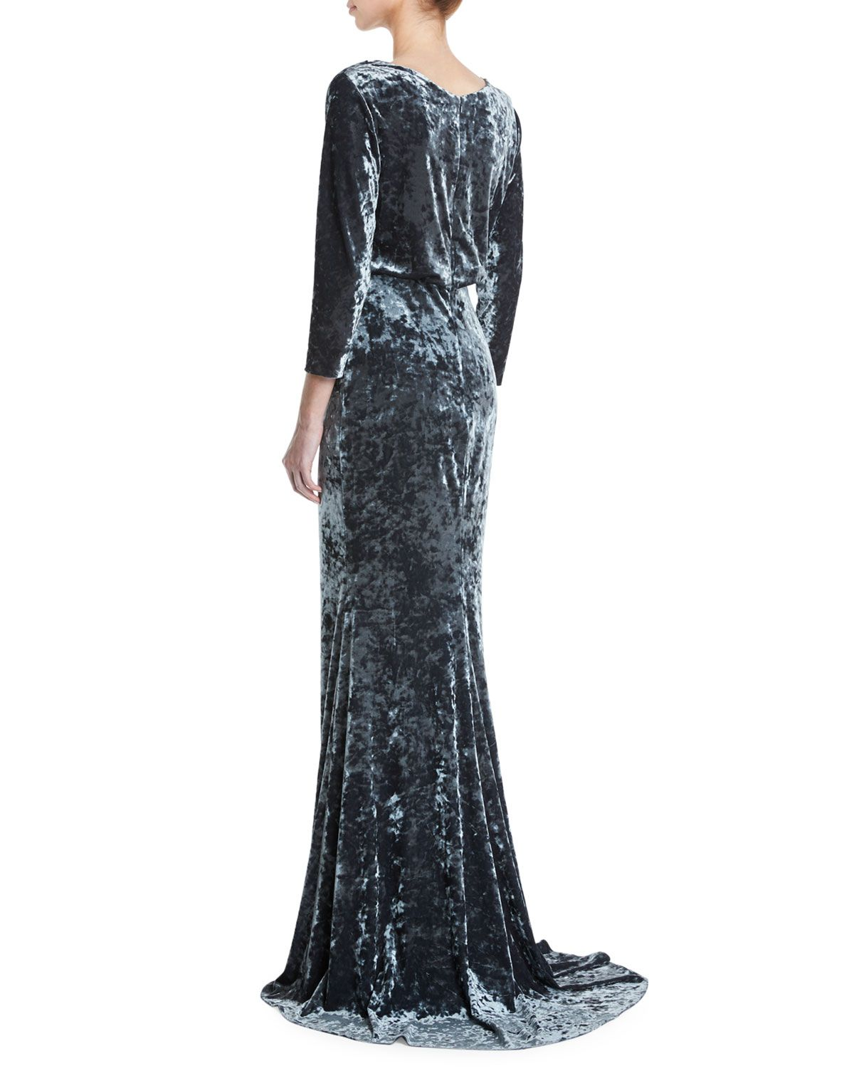 ca843d3fd39 Badgley Mischka Collection Long-Sleeve Blouson-Top Beaded Crushed Velvet  Evening Gown