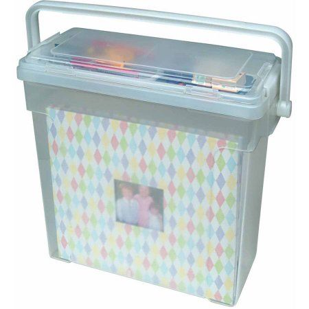 Iris Portable Scrapbook File Box Clear Walmart Com Scrapbook