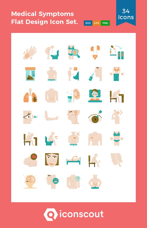 Medical Symptoms Flat Design Icon Set. Icon Pack 34 Flat