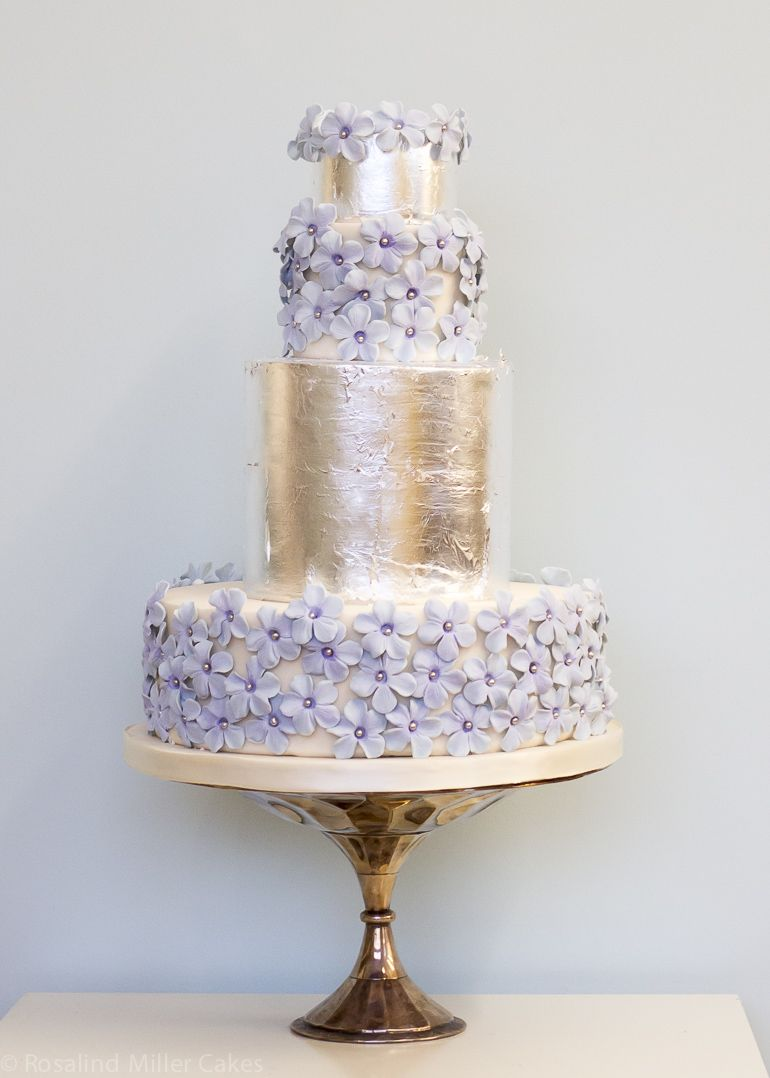 Blue Meadows and Silver Leaf Wedding Cake by Rosalind Miller Cakes - London