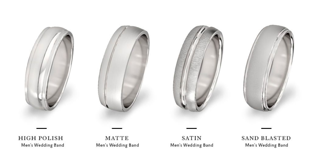 You Ve Picked A Metal For The Wedding Band But How Will You Finish It Mens Wedding Band Styles Wedding Band Styles Mens Wedding Bands Tungsten