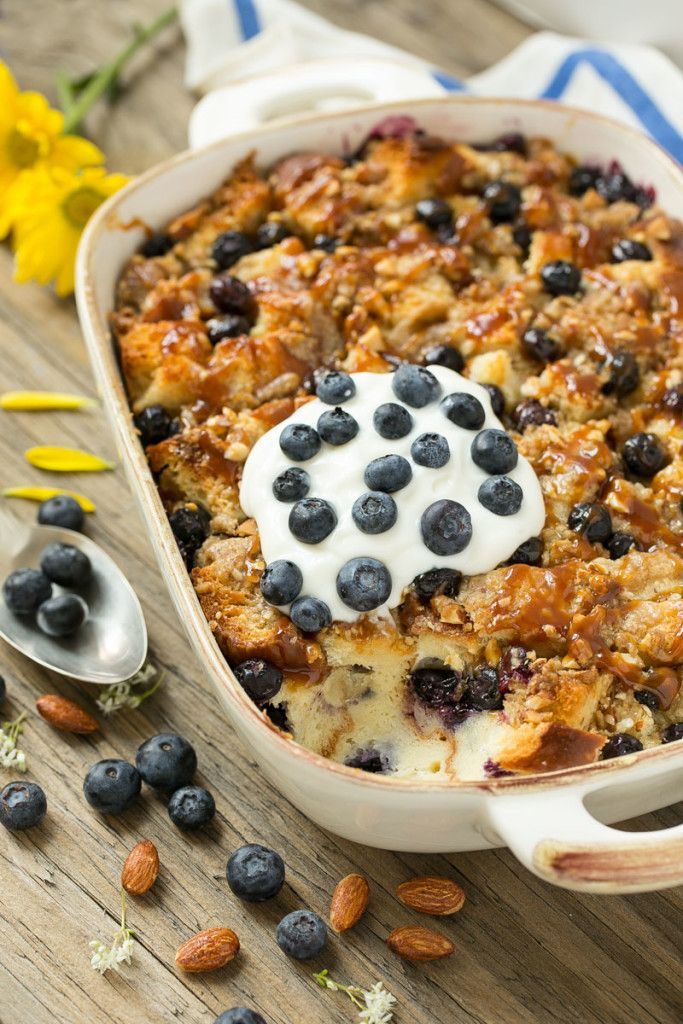This blueberry almond bread pudding has a streusel topping and is finished off with a drizzle of salted caramel. The ultimate comfort food! #Ad