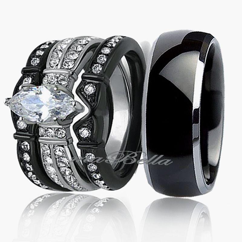 Black Wedding Ring Sets For Her