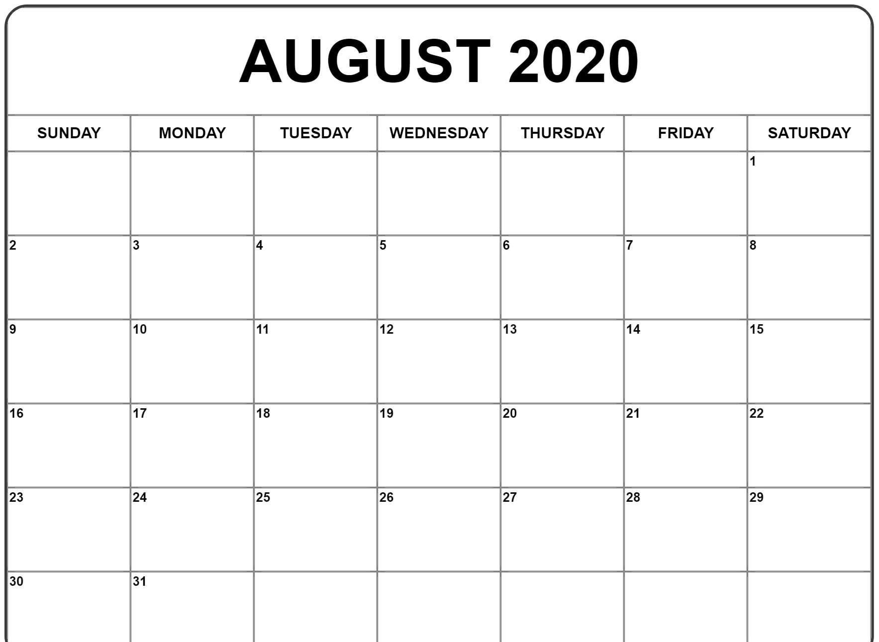 Free Blank August 2020 Calendar Fillable Printable Template In