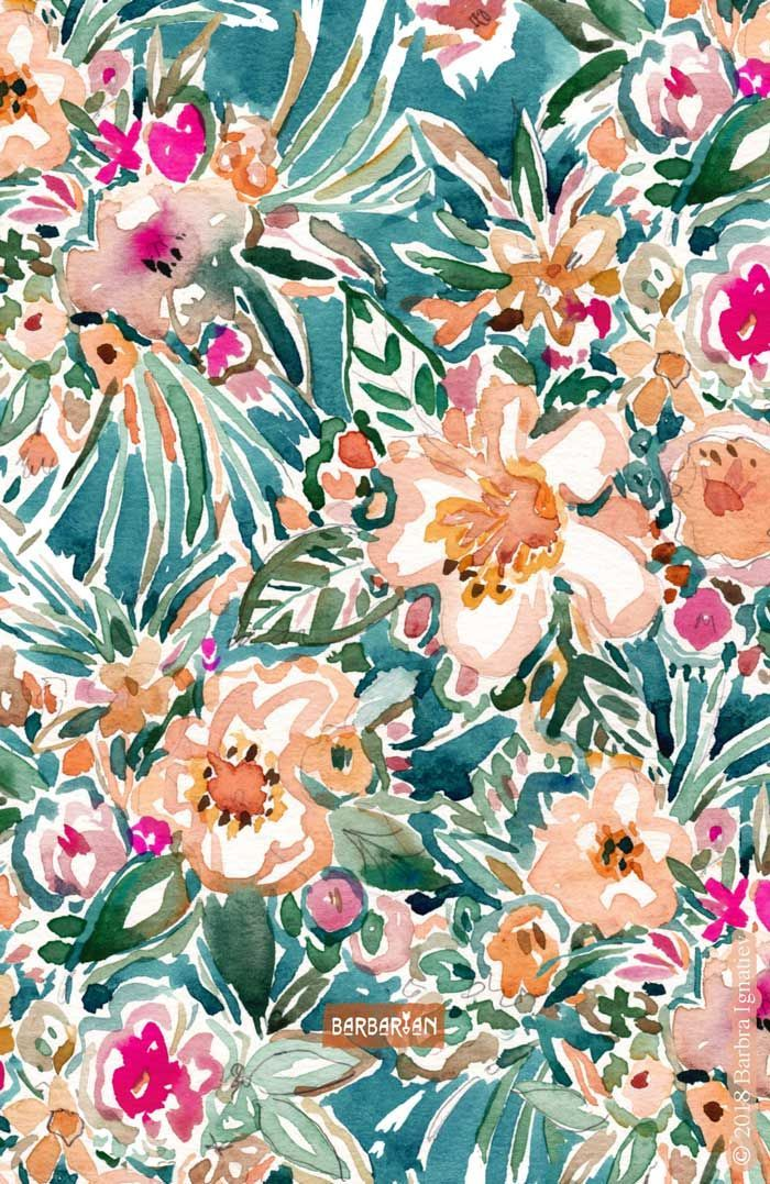 TROPICAL TUMBLE Colorful Paradise Floral | Flower phone wallpaper, Collage background, Art