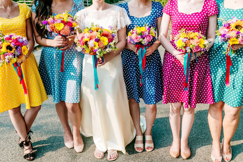 Colourful Bridesmaids Dresses Rainbow Bridesmaid Dress Polka Dot Short