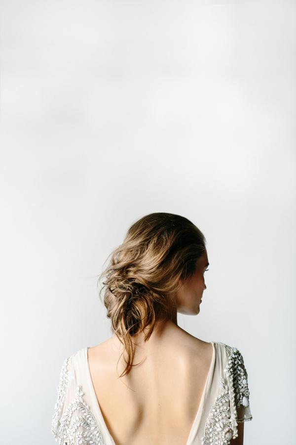Loose, messy updo | Whimsical Backless Wedding Dress | Rue De Seine 'Sadie'