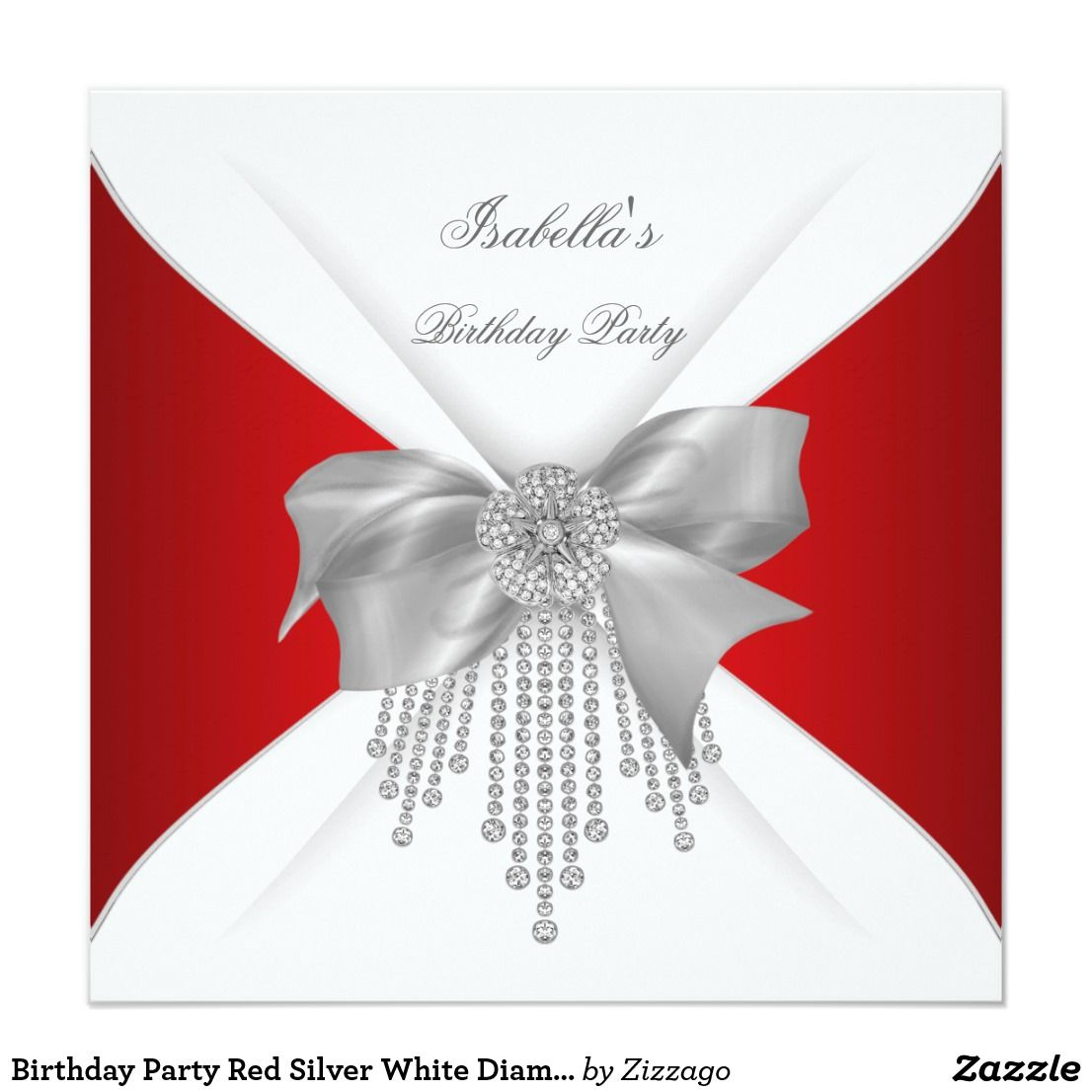 Birthday Party Red Silver White Diamond Bow Invitation | Party ...