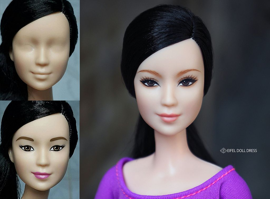 1//6 Female Dolls Head Mold Sculpture With Makeup for Doll DIY Cosplay Accessory