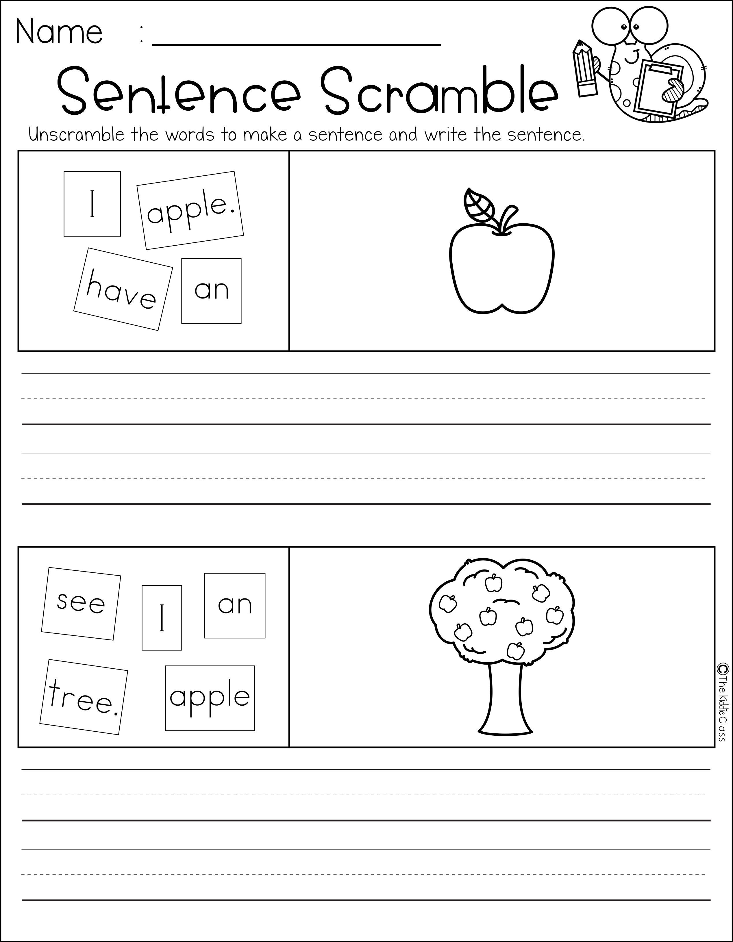 There Are 30 Pages Of Sentence Scramble Worksheet In This Packet Students Will Practice Writing And Drawing This Packet Is Perfect For Kindergarten And First