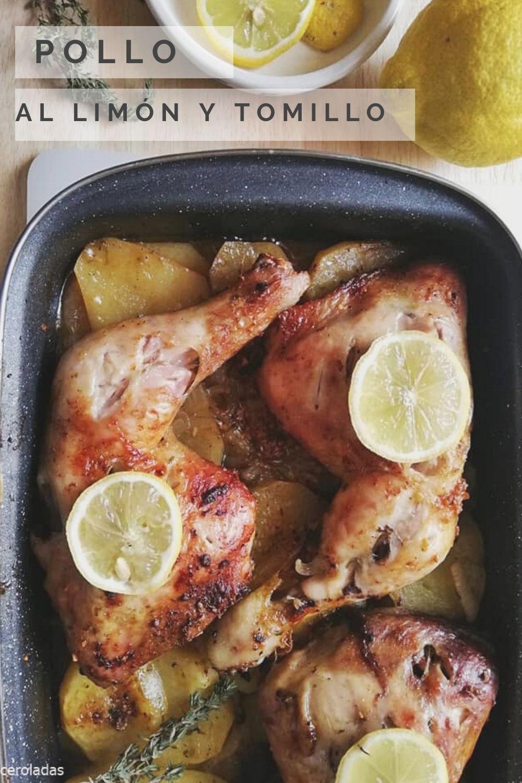 Pollo Al Horno Con Limón Tomillo Y Patatas Receta Pollo Al Limon Pollo Al Horno Con Patatas Recetas De Pollo Al Horno