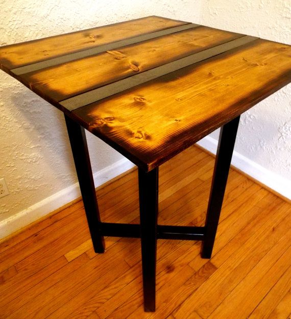 Reclaimed Wood Pub Table With Metal Strip By HammerFoxFurnishings
