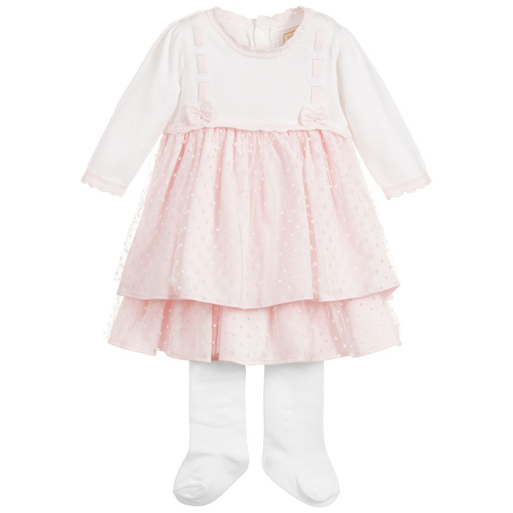 519d644b0165 Girls pink and white dress and tights set from Emile et Rose. The ...