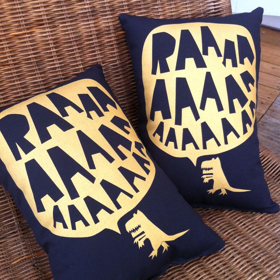 Image of RAAAAA Dinosaur Cushion - Gold on Black