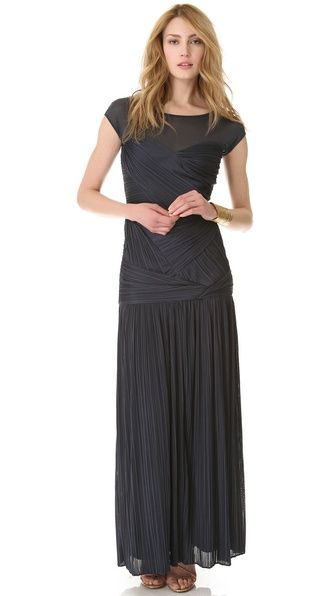 $795 Halston Heritage Sheer Shoulder Pleat Gown  This is drool-worthy as far as I am concerned. Just had to pin it so I could look at it every once in a while.