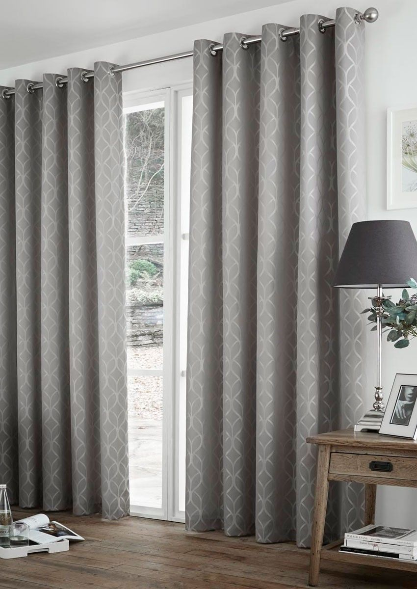 Harlow Thermal Silver Eyelet Grey geometric curtains that can