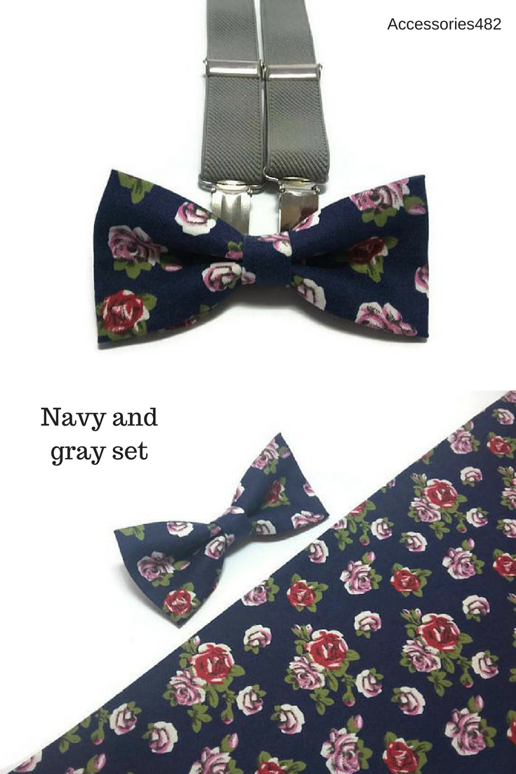 7e329b9c0e60 GRAY suspenders and dark blue blue red pink roses floral bow tie for boys  for men