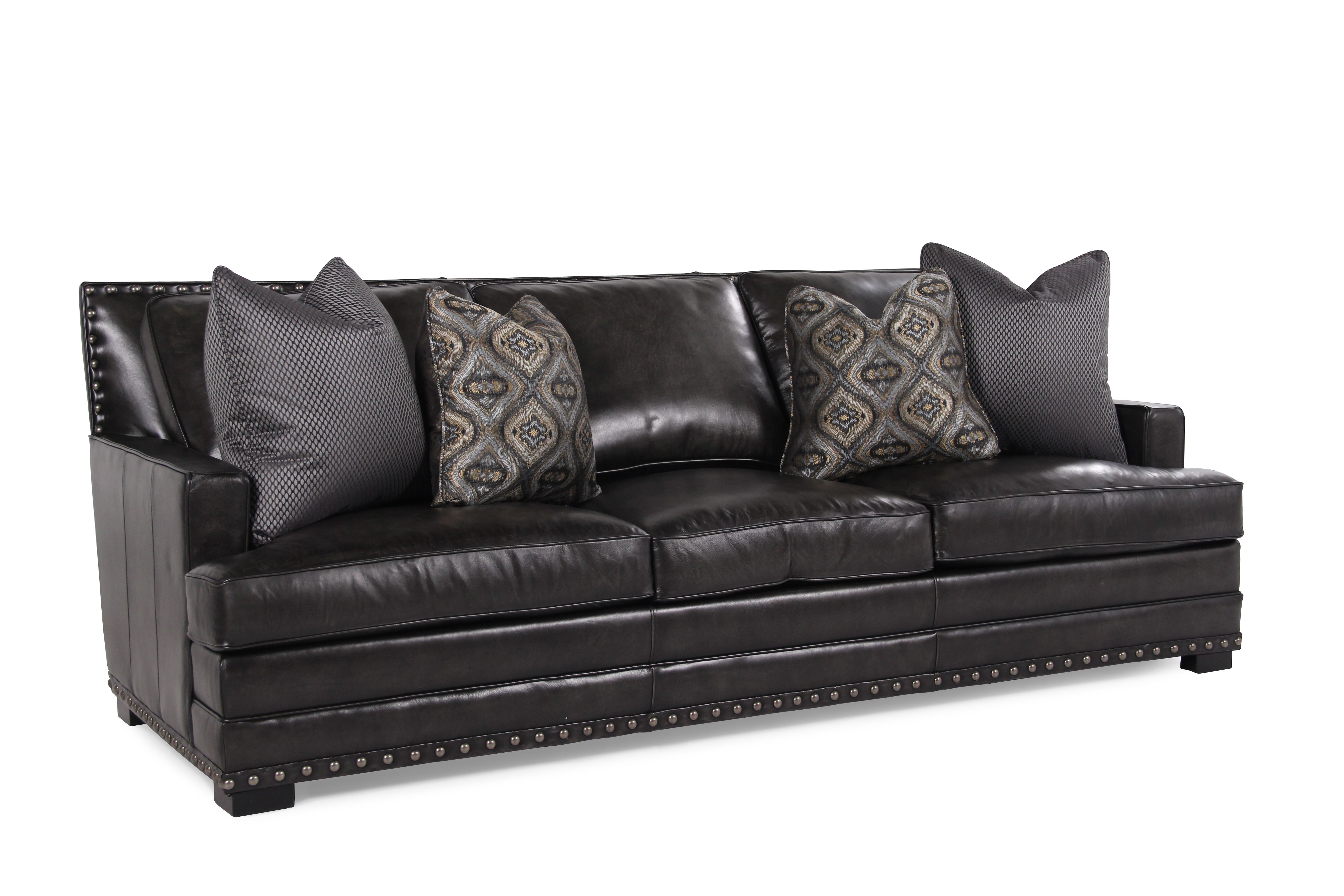 Bernhardt Cantor Graphite Leather Sofa Mathis Brothers Furniture