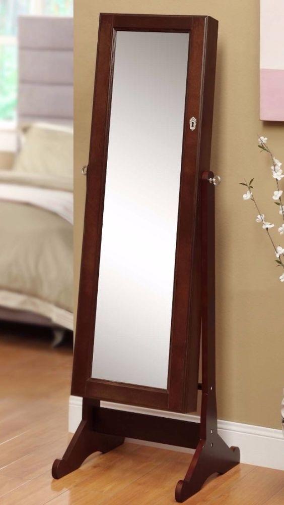 Modern Elegant Armoire Cherry Wood Cheval Mirror/ Jewelry Organizer Cabinet  Case
