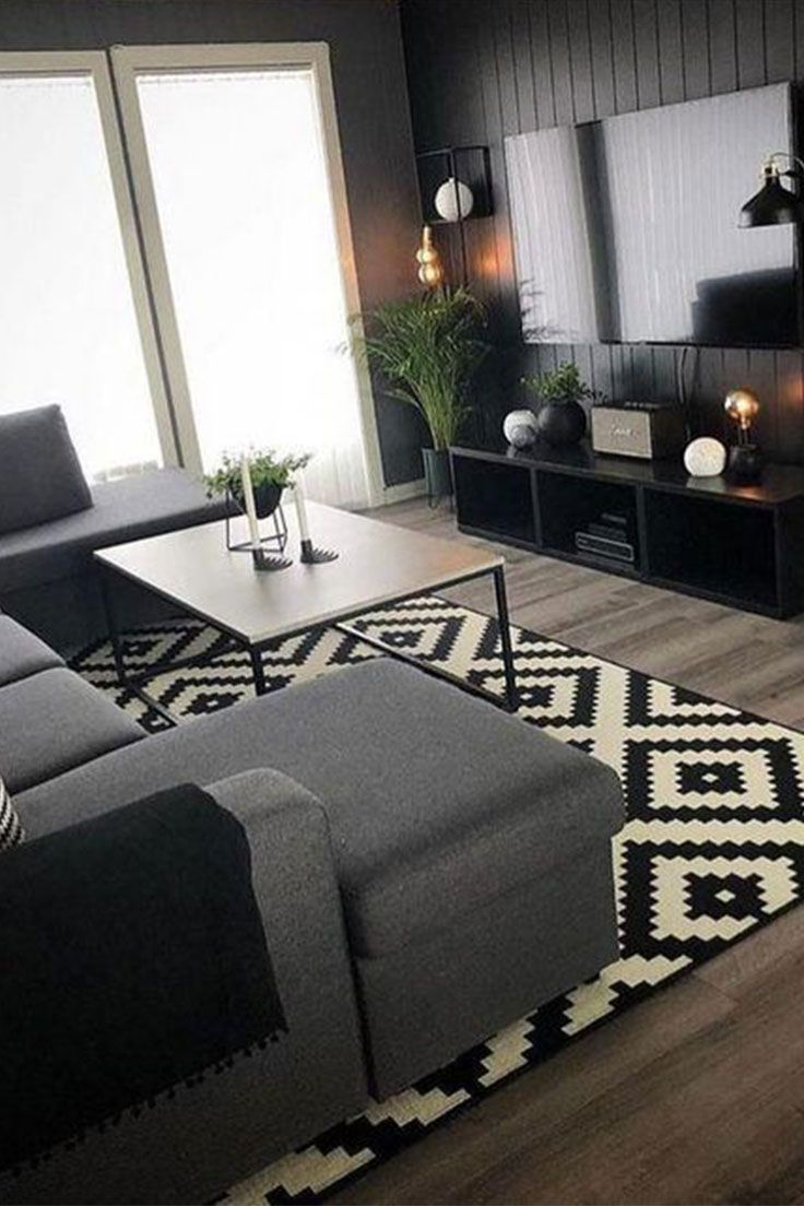 Best Black Patterned Wool Rug In 2020 Living Room Grey First 400 x 300