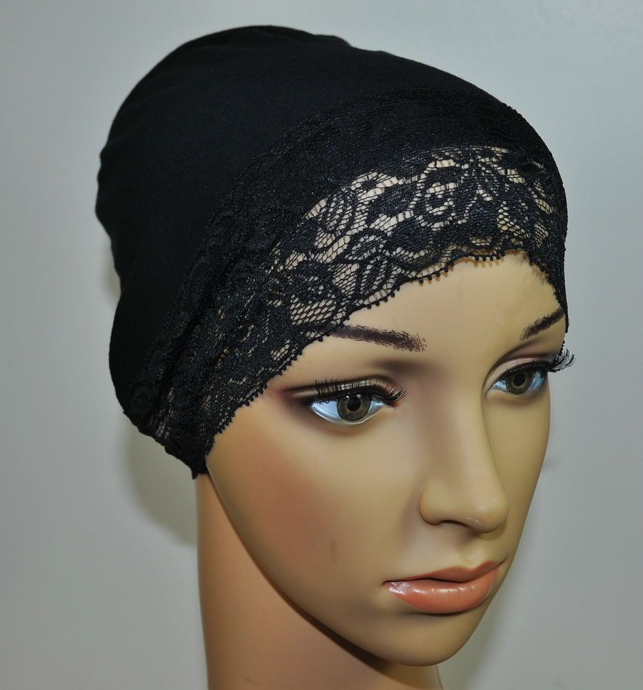 ff702519963 New Cotton Under Scarf Hijab Bonnet Cap Hump Bun Style Black with Attached  lace