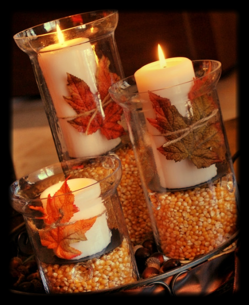 How warm and beautiful is this so simple #DIY centerpiece?!