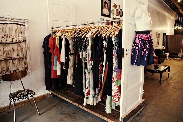 Clothing rack + doors and locking casters for easy moving. & organized - great idea for using old doors and for those of us ...