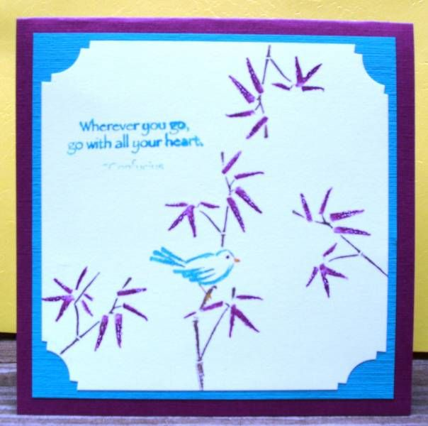I just love the look of this stamp set....  I really don't know if these are suppose to be leaves or a type of a flower....so I just colored them the way I wanted.  I used razzleberry textured cs, layered with bermuda blue, and the image is stamped on whisper white.  I then used a corner punch for a little added punch....  Hope you enjoy and thanks for looking....