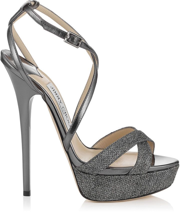 Jimmy Choo LIDDIE 145 Anthracite Lamé Glitter and Mirror Leather Platform  Sandals