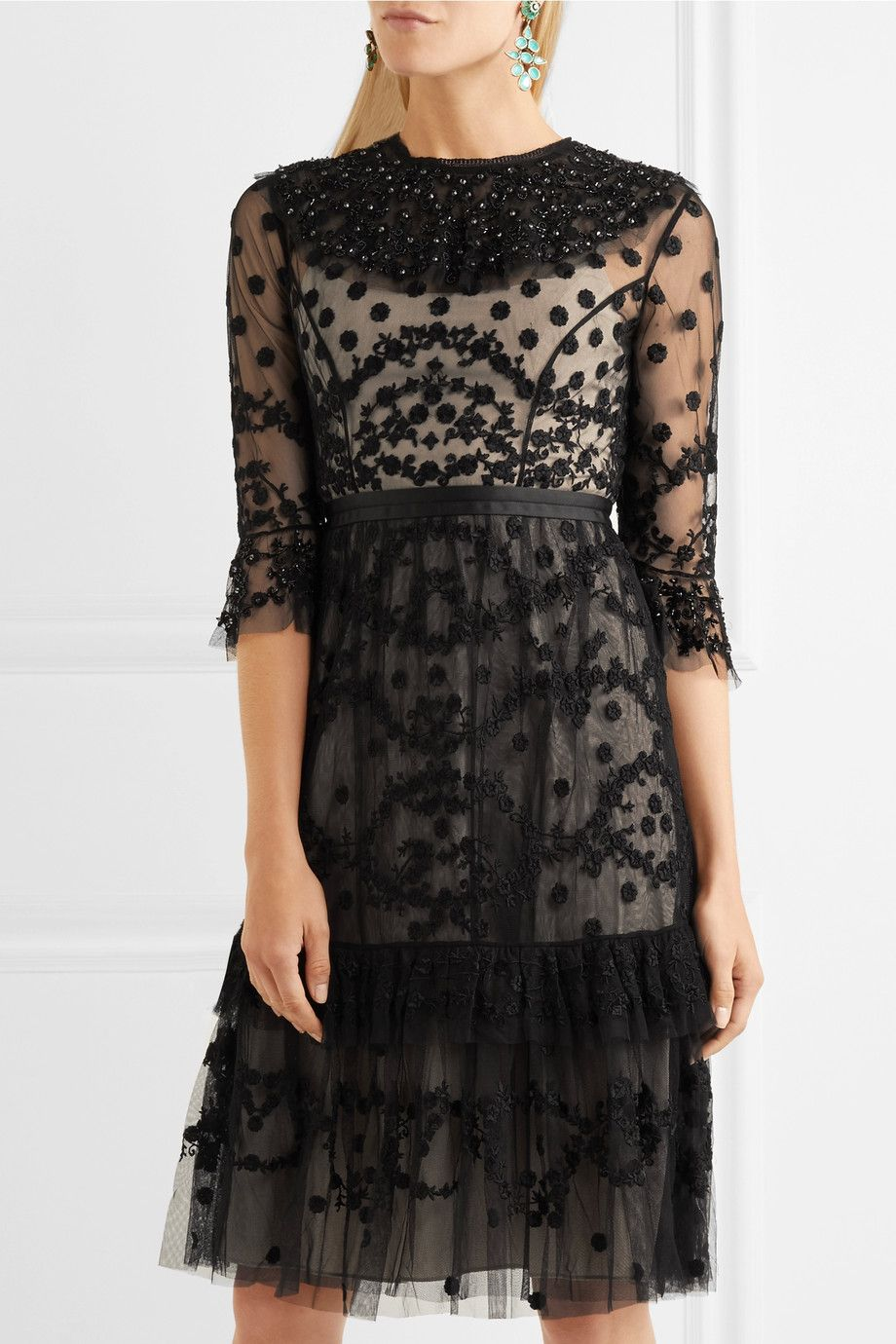 Explore For Sale Clearance Nicekicks Shadow Embellished Lace Dress - Black Needle & Thread Free Shipping Enjoy EQuJF7KmC