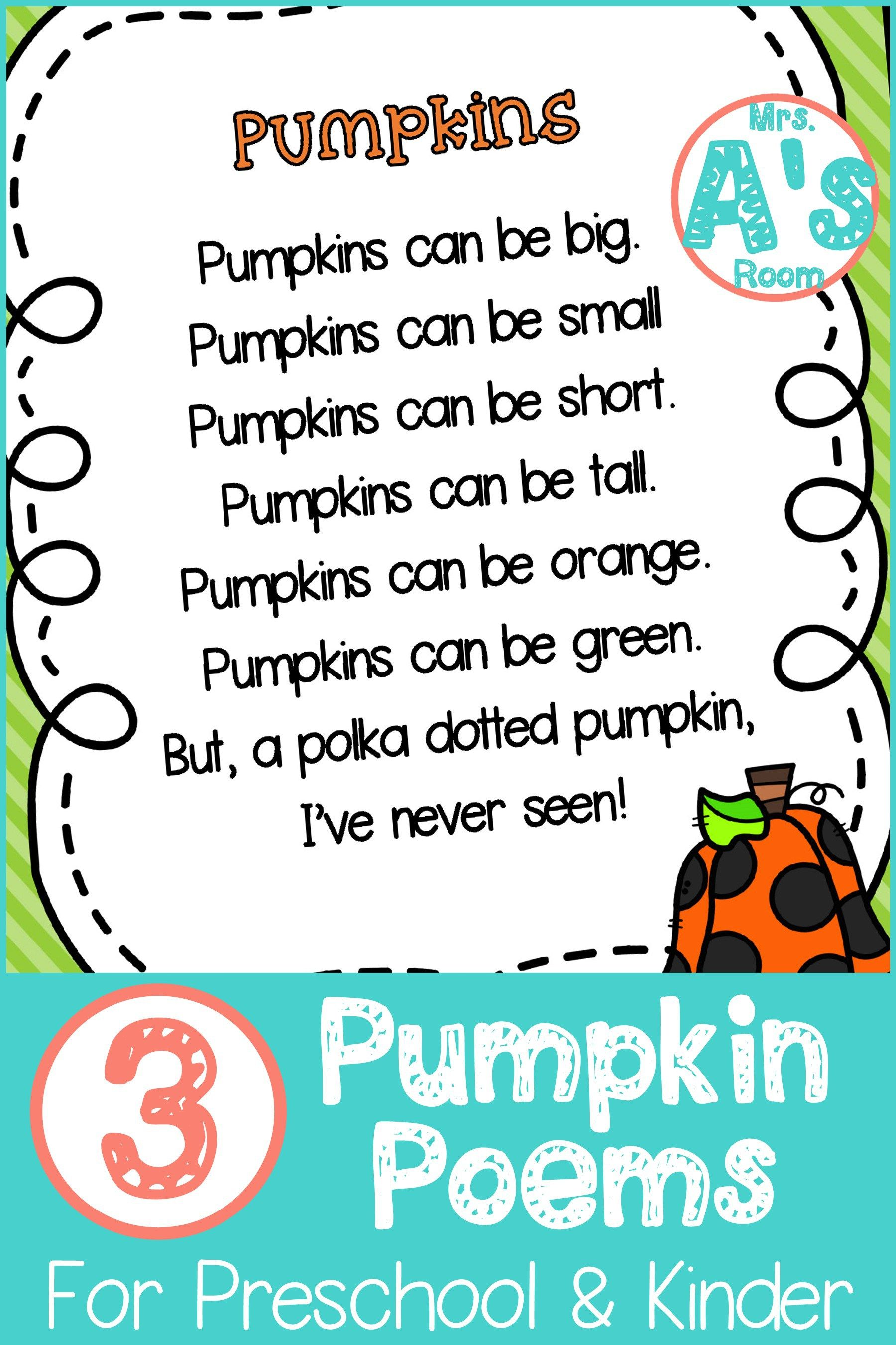 Three Pumpkins Poems For Preschool