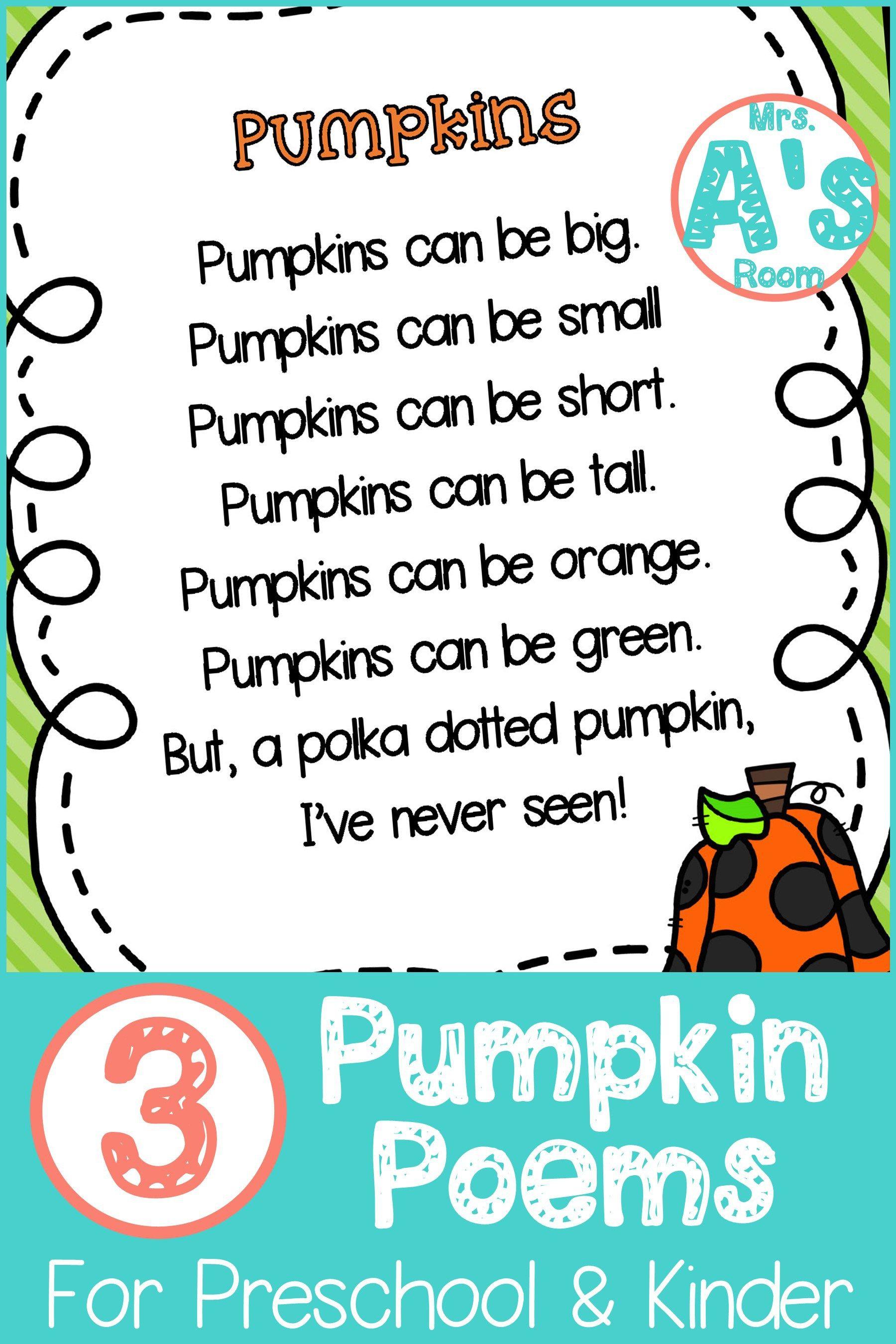 Three Pumpkins Poems For Preschool