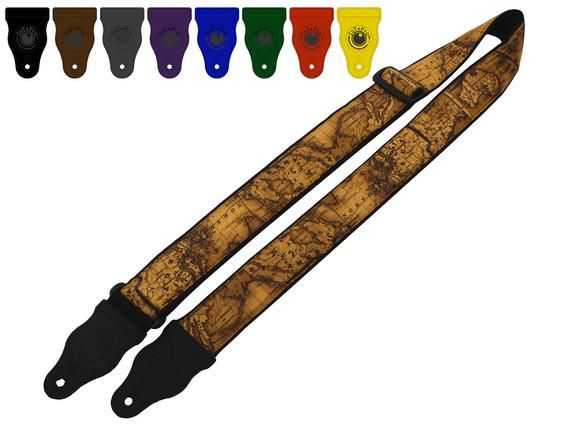 InTePro Vintage Guitar strap with world map design for acoustic, bass and other guitars. Great gift #vintageguitars