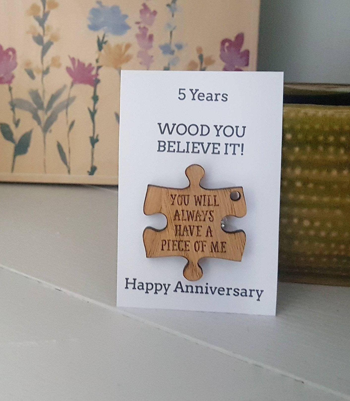 5th anniversary gift husbandgift wife card wood wooden