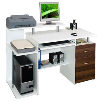 Bureau Table Informatique Stella Blanc Noyer Caisson A Tiroirs Fixe Hjh Office Caisson A Tiroirs Bureau Fait Maison Plans De Maison Duplex