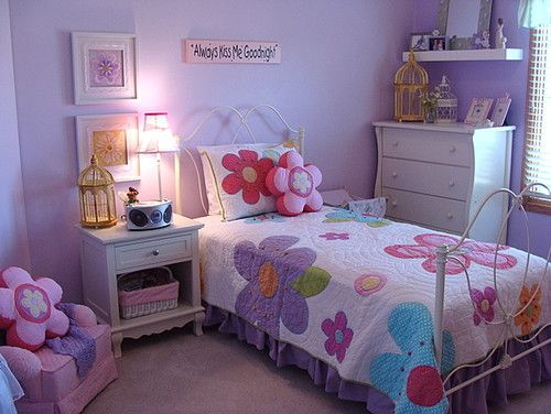 Creating Flower Theme For Kids Bedroom Furniture Girls Bedroom Furniture Little Girl Bedrooms Purple Girls Bedroom