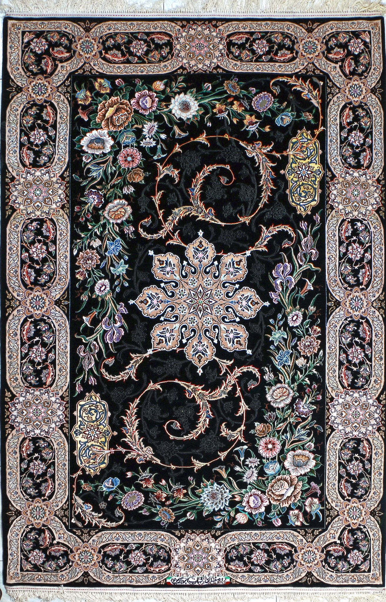 Isfahan Black Persian Silk Rug 5x8 6x8 In 2019 Iranian
