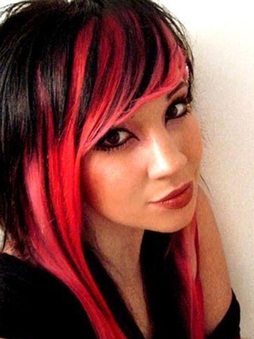 reddark brown hair black hair red highlights for