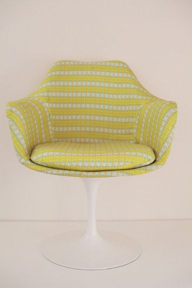 mid century knoll tulip chair upholstered in bunglo by shay spaniola fabric
