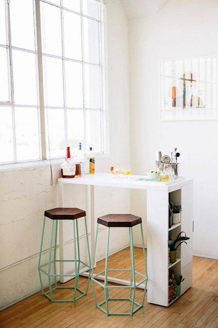 Awesome Table Ideas For Small Kitchens Part - 10: Mini Bar Kitchen Table With 2 Stools