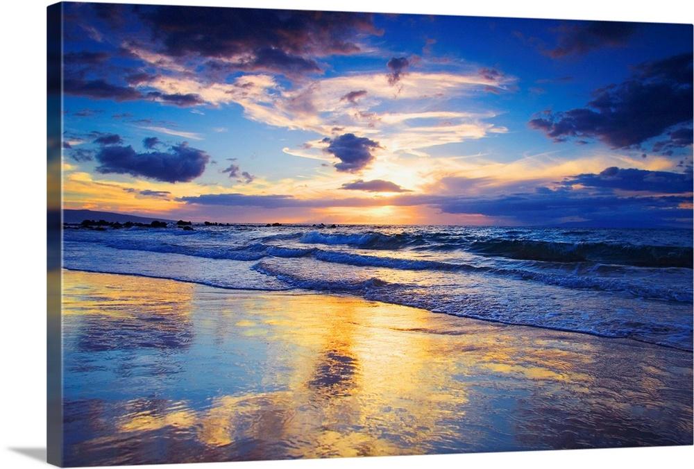 Hawaii Maui Wailea Sunset At Mokapu Beach Beach Wall Art Sunset Wall Art Prints