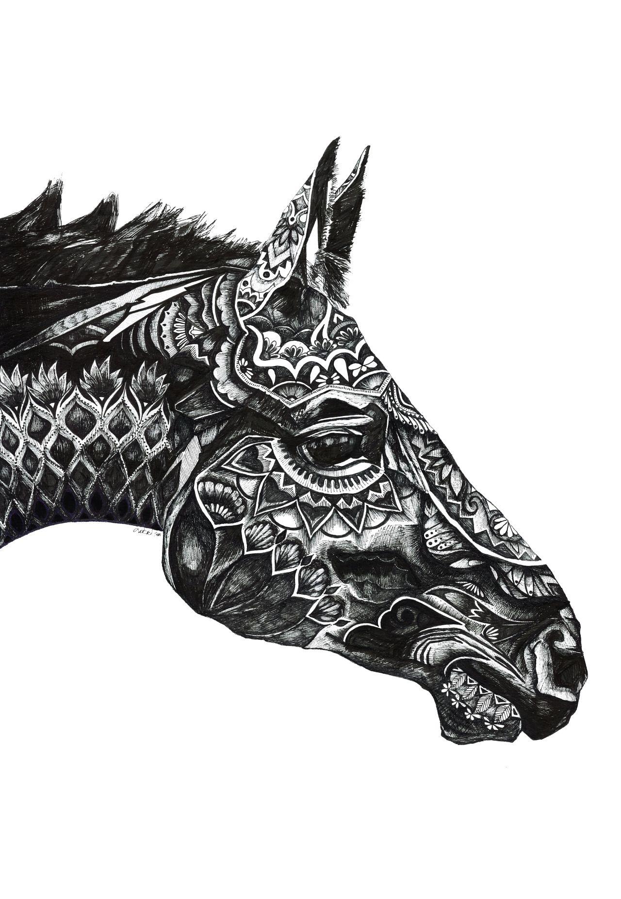 "trickillustration ""馬 (Horse) 2014 "" Horse illustration"