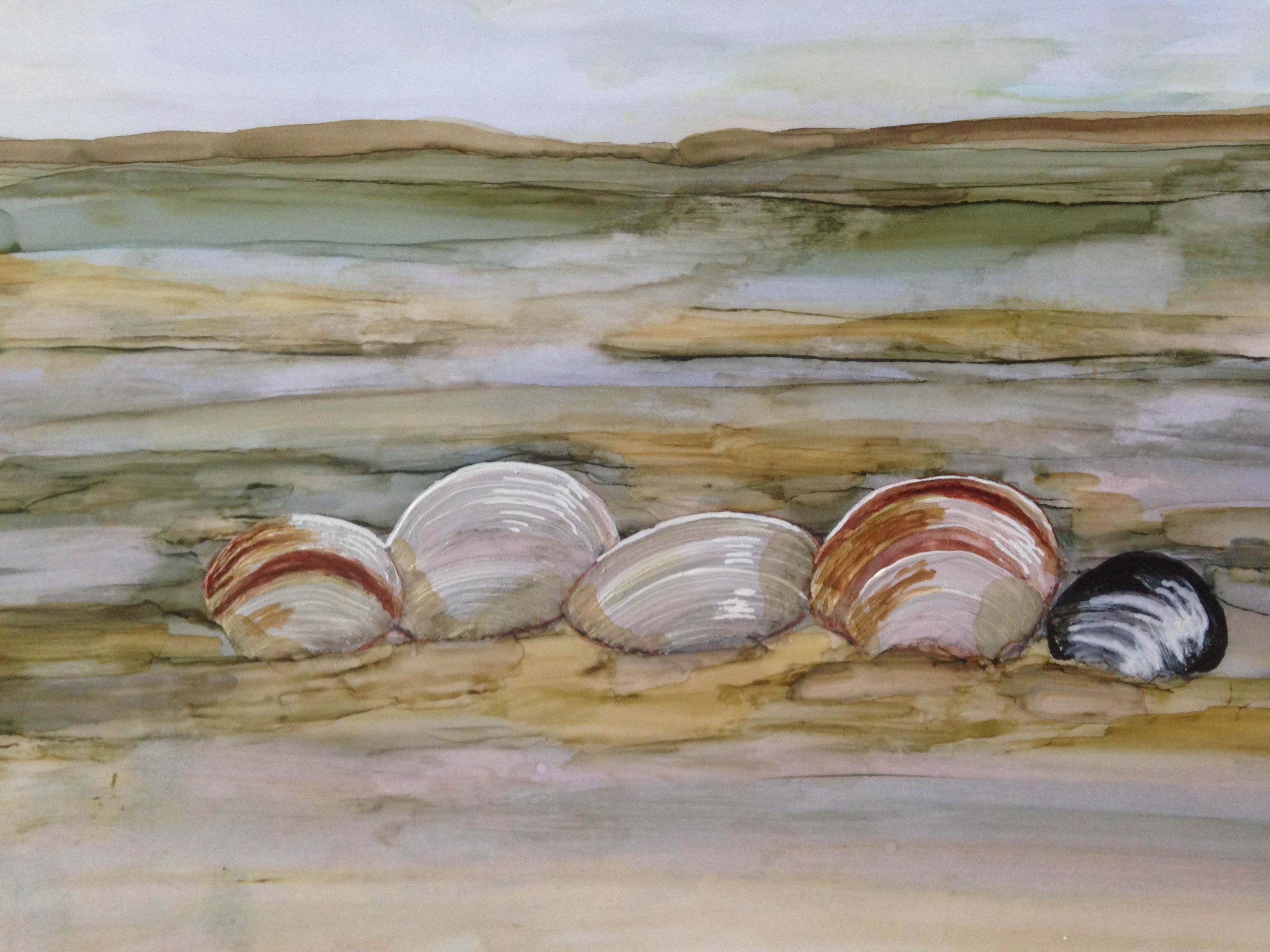 Alcohol ink and watercolor seashells at low tide by Linda ...