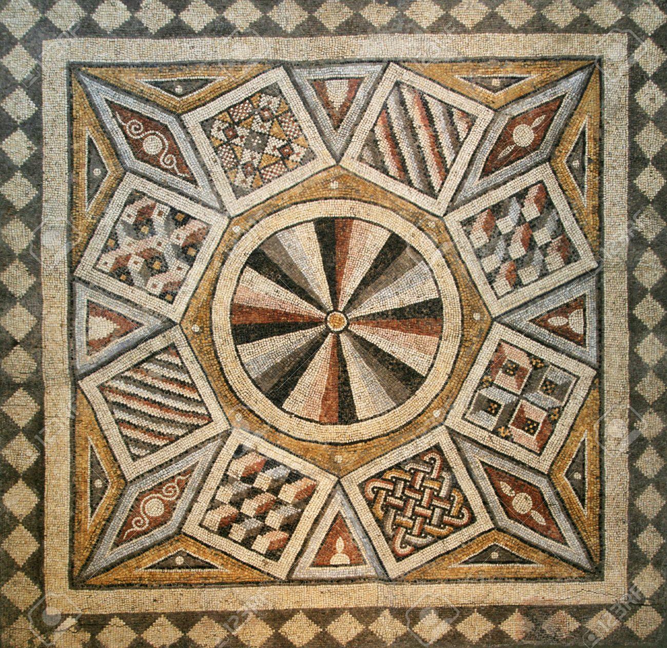 ancient tiles : Roman mosaic tile floor with geometric ...